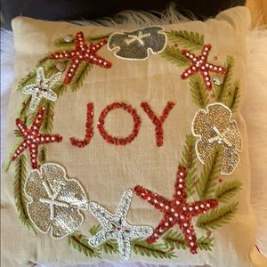 Pier 1 hand beaded & sequined holiday pillow